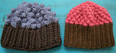 Cupcake Hat (#crochet at left, #knitting at right), free patterns by Marie Segares/Underground Crafter.