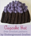 Cupcake Hat, free #crochet pattern by Marie Segares/Underground Crafter in newborn, infant, and toddler sizes.