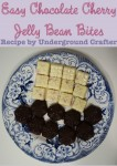 Easy #Chocolate Cherry Jelly Bean Bites #Recipe by Underground Crafter: These quick and easy bites make great desserts for a pot luck or holiday gifts. If you don't have chocolate molds, I include directions for making a bark version. #jellybelly
