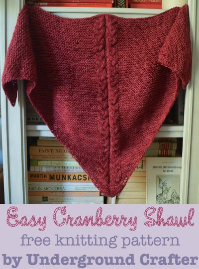 Easy Cranberry Shawl, free #knitting pattern by Marie Segares/Underground Crafter