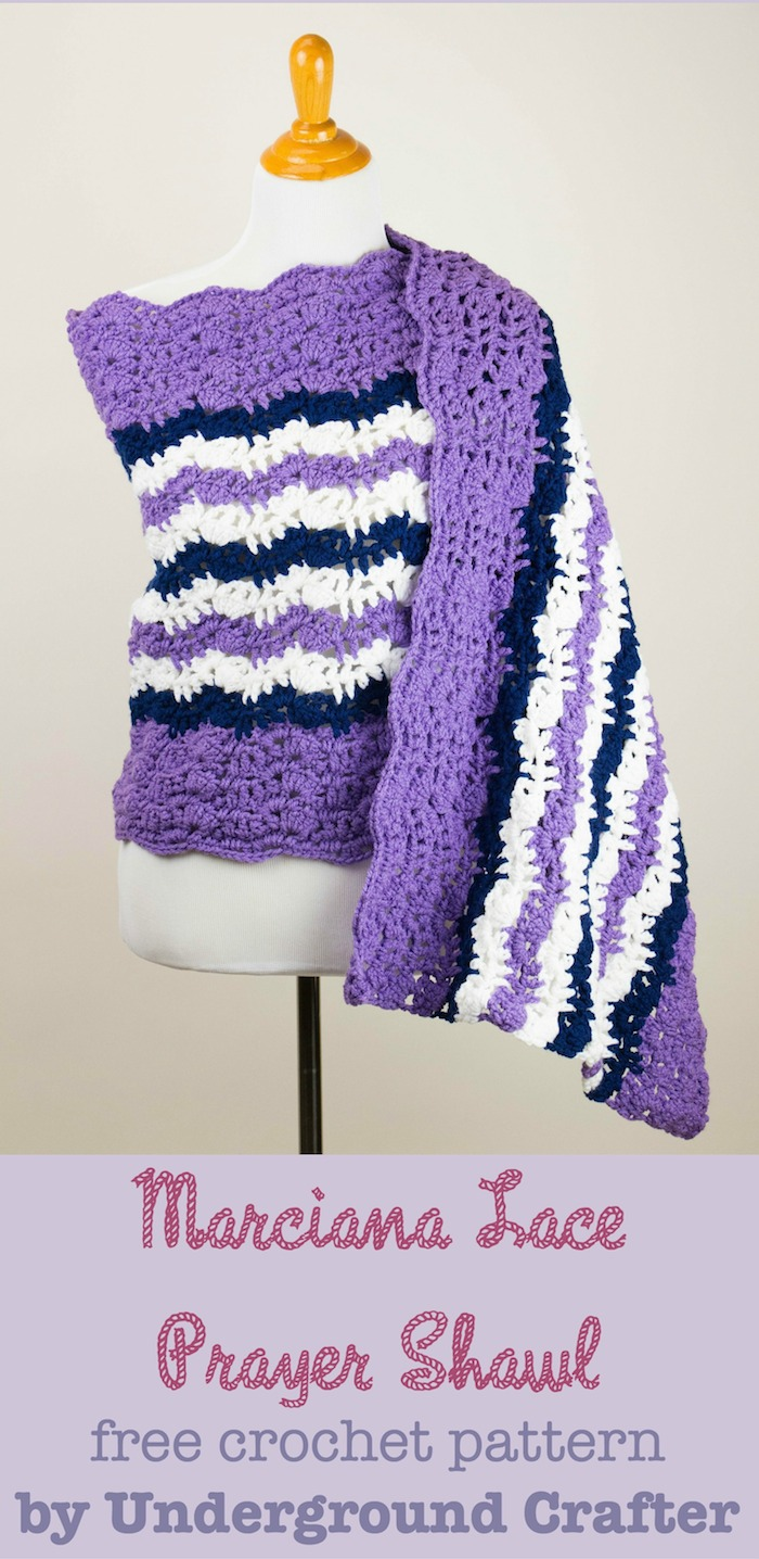 Marciana Lace Prayer Shawl, free #crochet pattern by Marie Segares/Underground Crafter. Photo © StitchAndUnwind.com.
