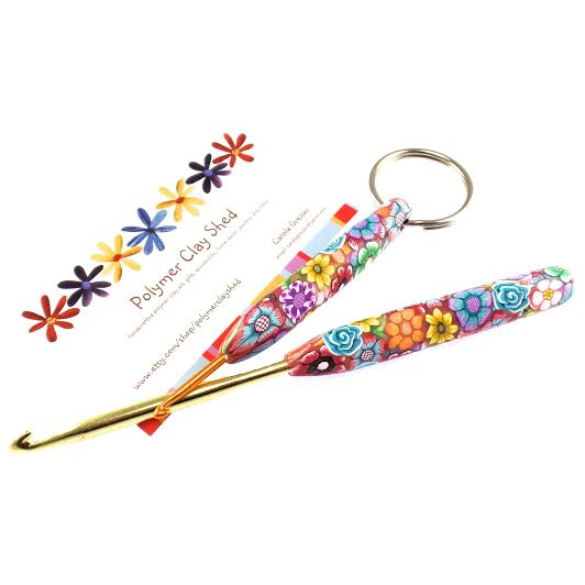 #HolidayStashdownCAL2015 Handmade crochet hook handle and crochet hook keychain by the Polymer Clay Shed on Etsy