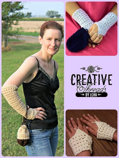 Swirling Leaves Opera Gloves #crochet pattern by Creative Threads by Leah.