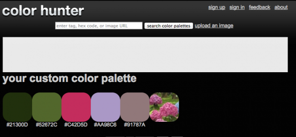 Color Hunter color palette generated from an uploaded image on Underground Crafter