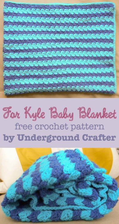 For Kyle Baby Blanket, free #crochet pattern by Marie Segares/Underground Crafter in Lion Brand Pound of Love yarn