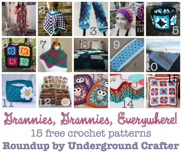 Grannies, Grannies, Everywhere! Roundup of 15 free crochet patterns using granny squares, granny stripes, and granny ripples, curated by Underground Crafter.