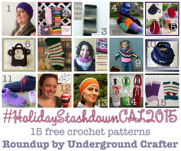 #HolidayStashdownCAL2015 15 free #crochet patterns, #roundup by Underground Crafter