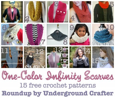One-Color Infinity Scarves, roundup of 15 free #crochet patterns, curated by Underground Crafter