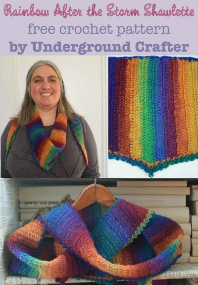 Rainbow After the Storm Shawlette, free #crochet pattern by Marie Segares/Underground Crafter in Bonita Yarns Kaleidoscopic.