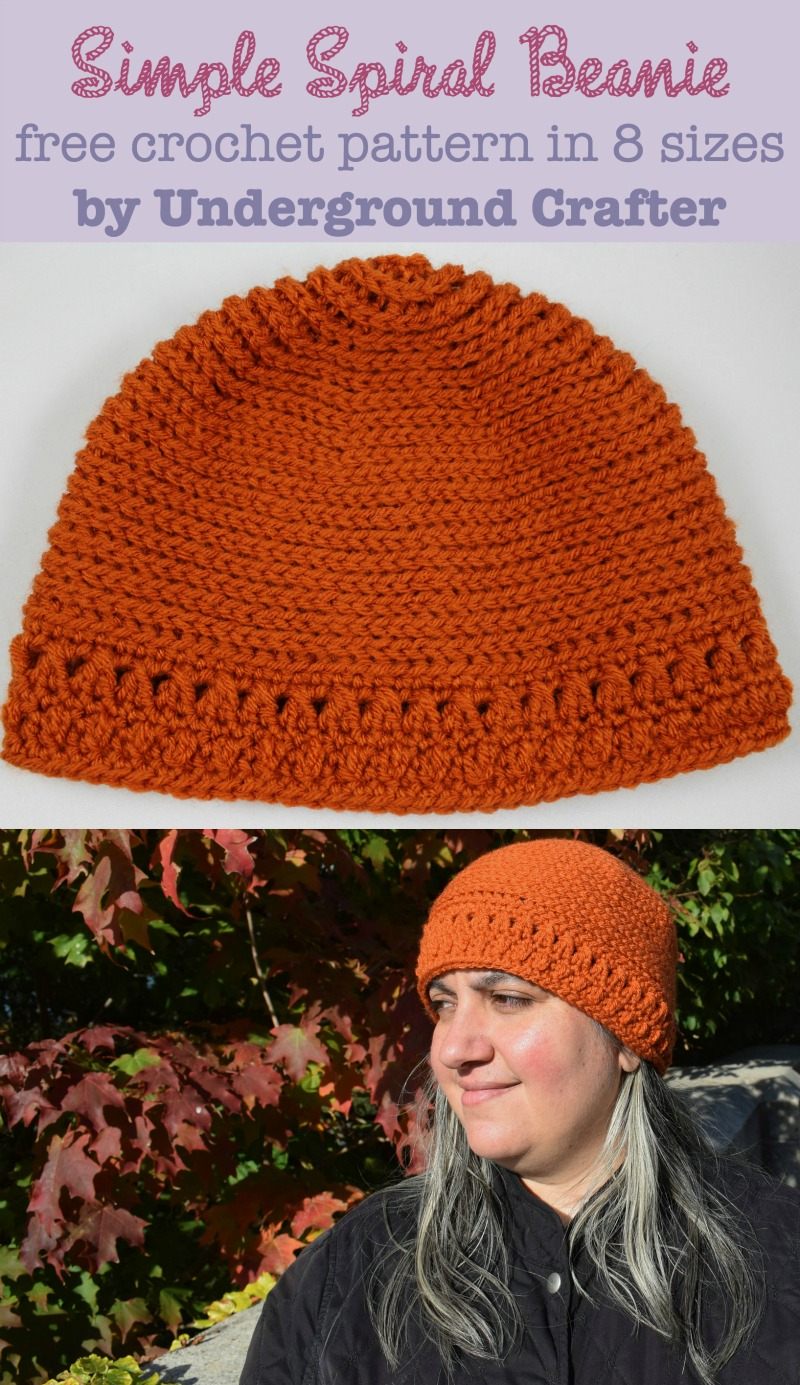Simple Spiral Beanie, free #crochet pattern in 8 sizes from newborn through adult large by Marie Segares/Underground Crafter