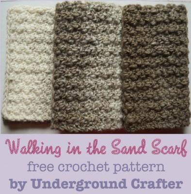 Walking in the Sand Scarf, free unisex #crochet pattern by Marie Segares/Underground Crafter in Lion Brand Scarfie