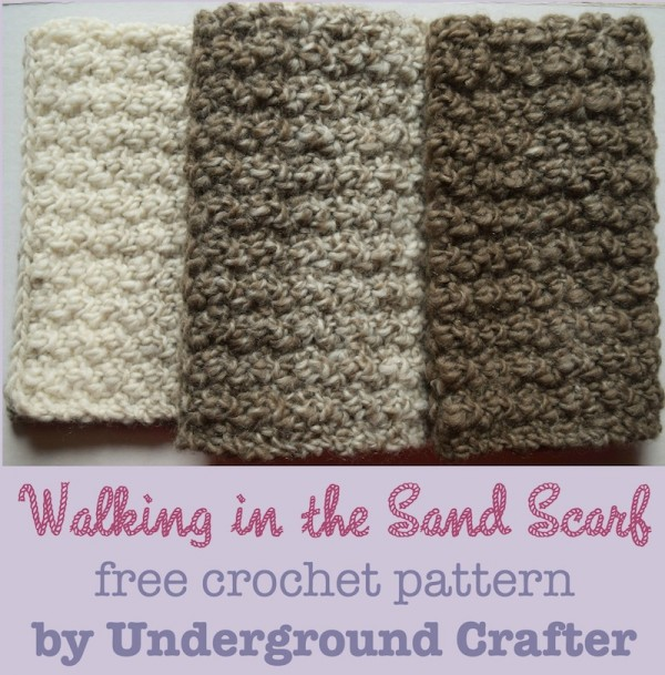 Walking in the Sand Scarf, free unisex #crochet pattern by Underground Crafter in Lion Brand Scarfie