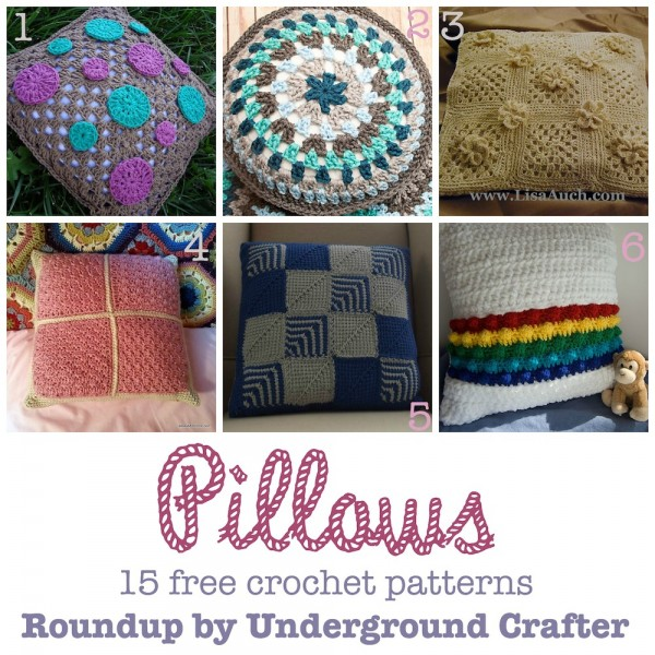 Roundup: 15 free #crochet patterns for pillows, curated by Underground Crafter