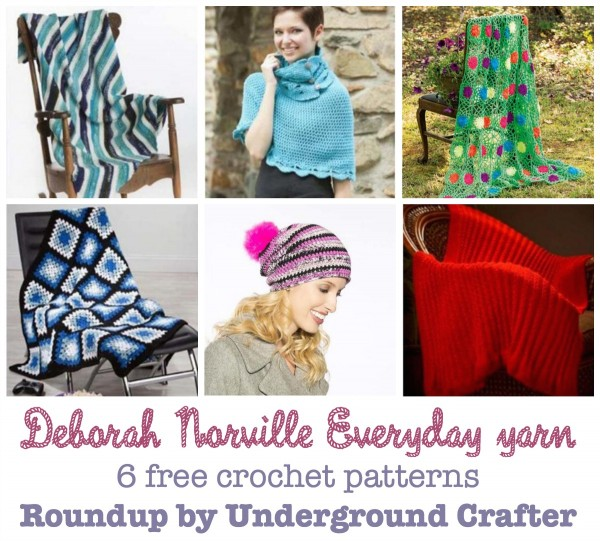 Deborah Norville Everyday yarn, 6 free crochet patterns, roundup by Underground Crafter