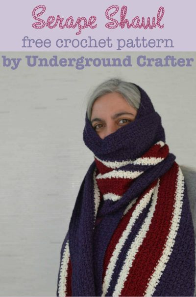 Serape Shawl, free #crochet pattern by Underground Crafter. This beginner-friendly rectangular shawl is perfect for keeping warm and makes a great prayer/comfort shawl, too.