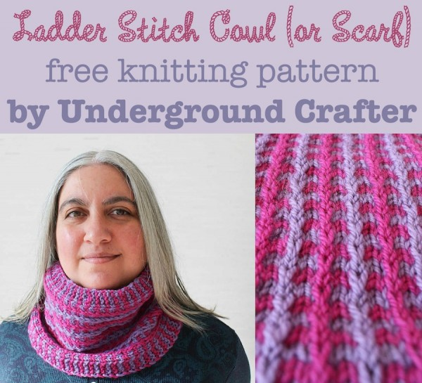 Ladder Stitch Cowl (or Scarf), free #knitting pattern by Underground Crafter