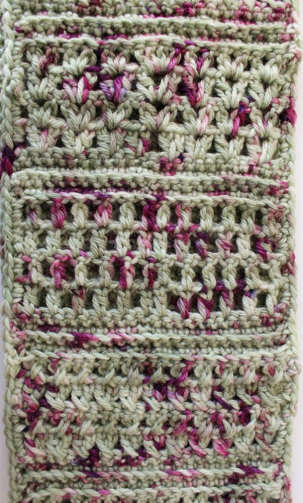 Spring Sampler Infinity Scarf, free #crochet pattern by Underground Crafter   March is National Craft Month series with 100Directions.com #nationalcraftmonth #imadethisjg