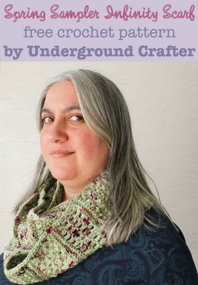 Spring Sampler Infinity Scarf, free #crochet pattern by Underground Crafter | March is National Craft Month series with 100Directions.com #nationalcraftmonth #imadethisjg