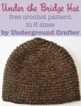 Under the Bridge Hat, free #crochet pattern in 6 sizes by Underground Crafter