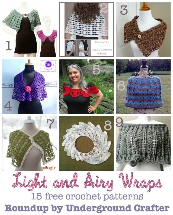 Roundup: 15 free crochet patterns for light and airy wraps, curated by Underground Crafter