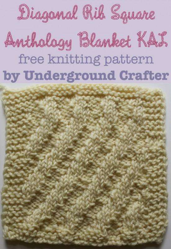 Diagonal Rib Square, free #knitting pattern by Underground Crafter | Anthology Blanket KAL