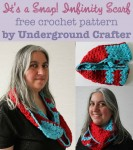 It's a Snap! Infinity Scarf, free #crochet pattern by Underground Crafter