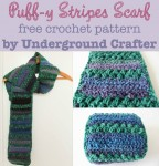 Puff-y Stripes Scarf, free #crochet pattern by Underground Crafter