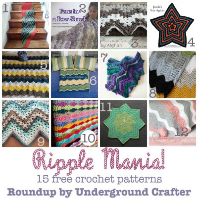Roundup: 15 free crochet patterns featuring ripples, chevrons, and waves, curated by Underground Crafter