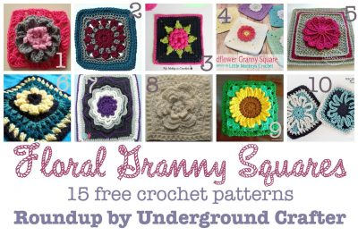 15 free crochet patterns for floral granny squares, roundup curated by Underground Crafter