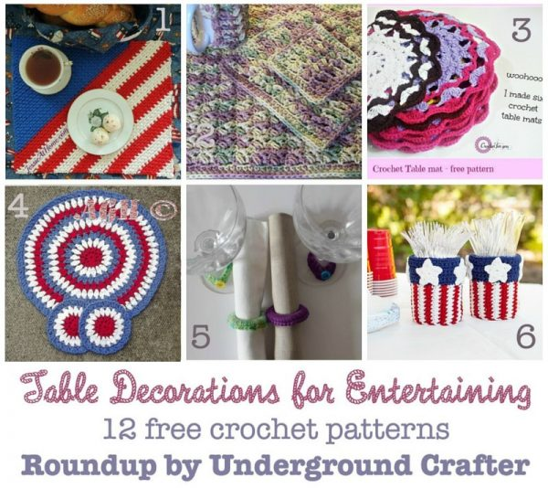 Roundup: 12 free crochet patterns for table decorations for entertaining, curated by Underground Crafter | Add some handmade flair to your next party with these patterns for tablemats, coasters, and other decorations. Most of these make great hostess gifts and stash busters, too.