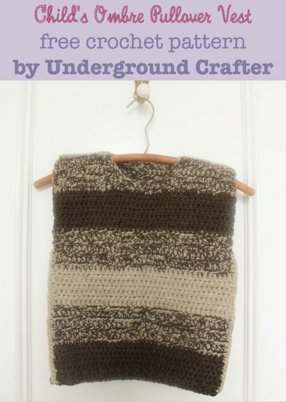 Child's Ombré Pullover Vest, free crochet pattern in Lion Brand Fishermen's Wool by Underground Crafter | This oversized, boxy project is perfect for donation to Wool-Aid, a charity that helps children in the coldest parts of the world.