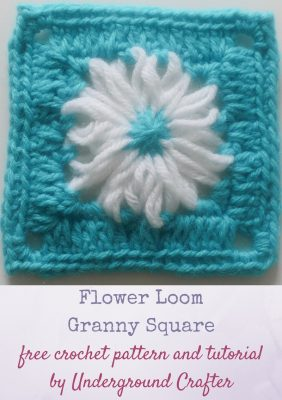 Flower Loom Granny Square, free crochet pattern with video tutorial by Underground Crafter