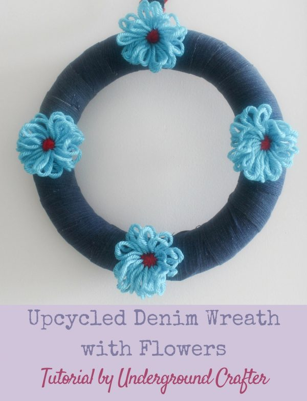 Upcycled Denim Wreath with Yarn Flowers Tutorial by Underground Crafter #DIY #crafts #yarn