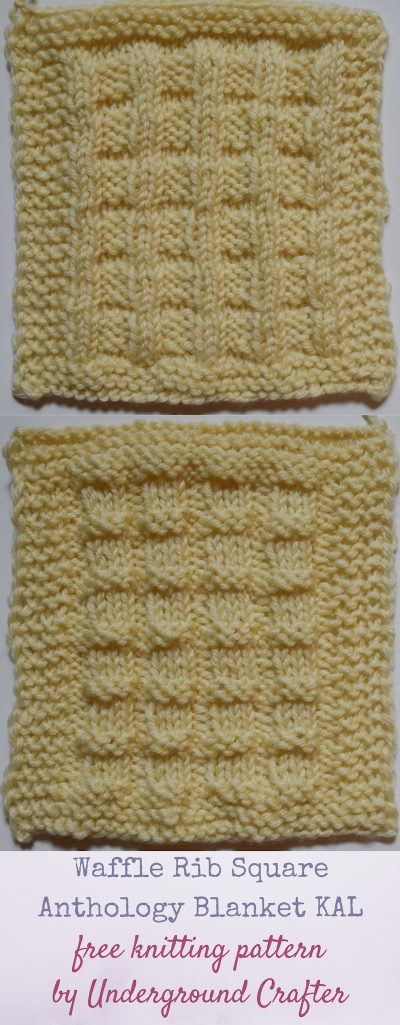 """Waffle Rib Square, free knitting pattern by Underground Crafter 