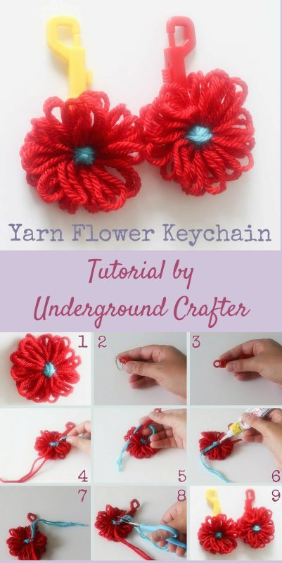 Yarn Flower Keychain Tutorial by Underground Crafter #DIY #crafts #yarn