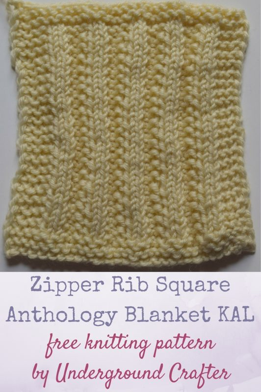 "Zipper Rib Square, free knitting pattern by Underground Crafter | This variation on ribbing resembles open teeth on a zipper. One of 30 free knitting patterns for 6"" (15 cm) squares in the Anthology Blanket KAL."