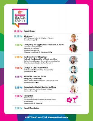 HGTV Magazine's Blogger Block Party 2016 agenda