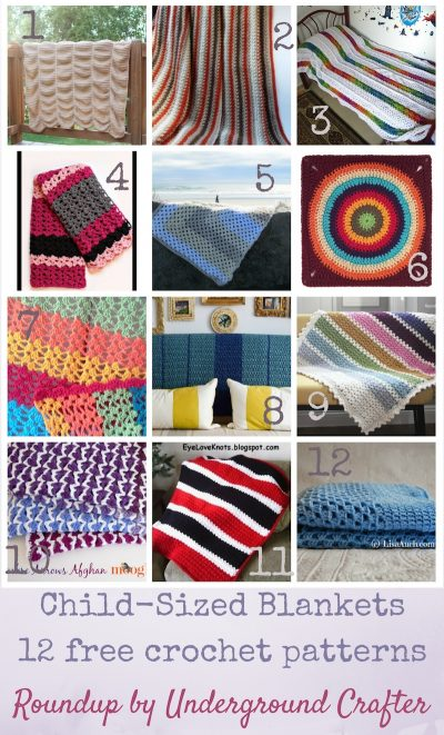 Roundup: 12 free crochet patterns for child-sized blankets, curated by Underground Crafter | Whether you're looking for a back-to-school project, holiday gift, or a centerpiece for a room makeover, one of these child-sized blankets will do the trick! If you don't have any children on your list, these all make great throws for sitting under while watching tv, too.