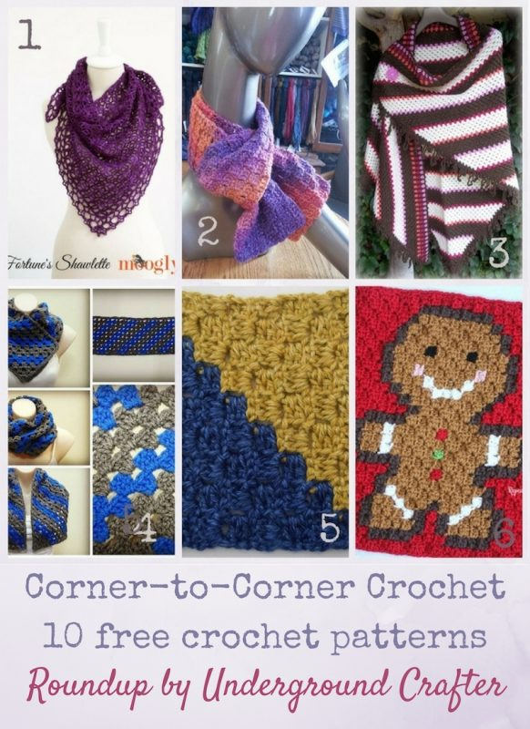Roundup: 10 free corner-to-corner crochet patterns, curated by Underground Crafter | Corner-to-corner crochet, also known as c2c and the diagonal box stitch, is a fun way of crocheting projects. Check out these 10 free crochet patterns to get started or to find your next c2c project.