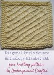 """Diagonal Purls Square, free knitting pattern in Cascade 220 Superwash yarn by Underground Crafter 