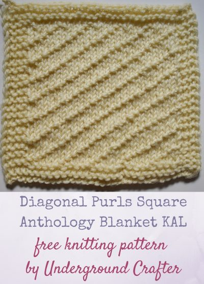"Diagonal Purls Square, free knitting pattern in Cascade 220 Superwash yarn by Underground Crafter | This traveling stitch pattern creates textured diagonal lines on a stockinette background. It's one of 30 free knitting patterns for 6"" (15 cm) squares in the Anthology Blanket knit-a-long."
