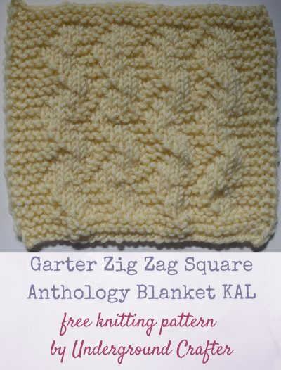 """Garter Zig Zag Square, free knitting pattern by Underground Crafter in Cascade Yarns 220 Superwash yarn 