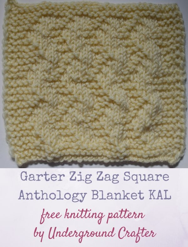 "Garter Zig Zag Square, free knitting pattern by Underground Crafter in Cascade Yarns 220 Superwash yarn | This stitch creates a purl zig zag texture on a stockinette background. This is one of 30 free knitting patterns for 6"" (15 cm) squares in the Anthology Blanket Knit-a-long."