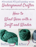 How To Wind Yarn with a Swift and Winder Tutorial by Underground Crafter | Do you have a skein of indie yarn, handspun, or farmers market yarn that you don't know how to wind? This step-by-step tutorial shows how to wind yarn using a tabletop swift and manual winder so you can have center-pull yarn cakes for crocheting or knitting.