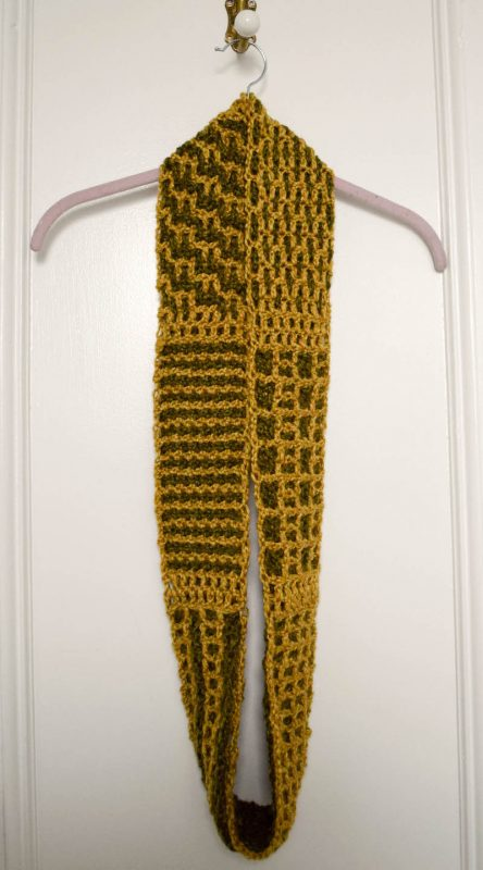 Layers of Texture Infinity Scarf Crochet-a-Long with Underground Crafter and Crochet Guild of America (CGOA) - Part 4 (Grids and Columns Stitch) in Lion Brand Heartland yarn