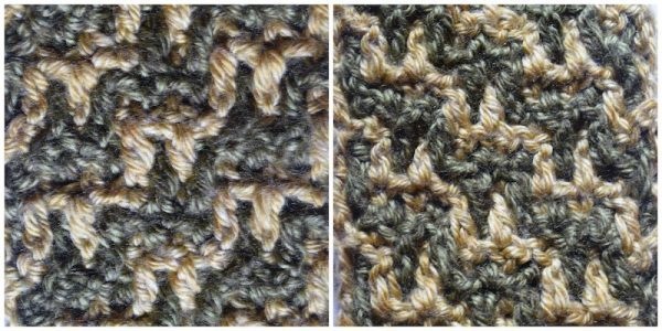 Layers of Texture Infinity Scarf, free crochet pattern by Underground Crafter | This intermeshing crochet sampler pattern includes video tutorials. Stitch 1: Staircase Stitch