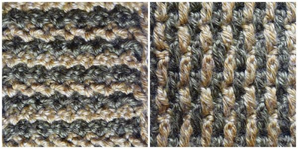 Layers of Texture Infinity Scarf, free crochet pattern by Underground Crafter | This intermeshing crochet sampler pattern includes video tutorials. Stitch 2: Horizontal and Vertical Stitch