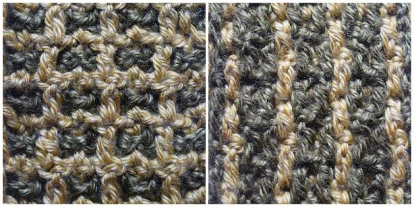 Layers of Texture Infinity Scarf, free crochet pattern by Underground Crafter | This intermeshing crochet sampler pattern includes video tutorials. Stitch 4: Grids and Columns Stitch
