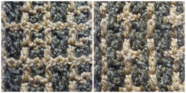 Layers of Texture Infinity Scarf, free crochet pattern by Underground Crafter | This intermeshing crochet sampler pattern includes video tutorials. Stitch 5: Morse Code Stitch