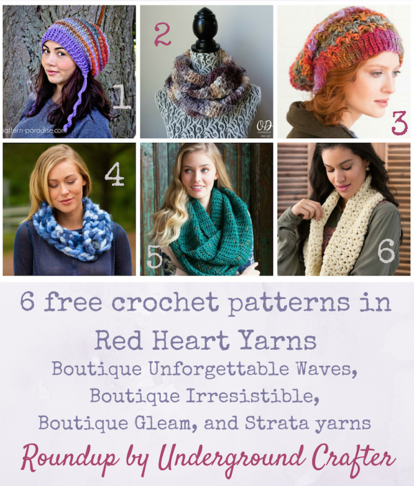 Roundup: 6 free crochet patterns in Red Heart Boutique Unforgettable Waves, Boutique Irresistible, Boutique Gleam, and Strata yarns, curated by Underground Crafter